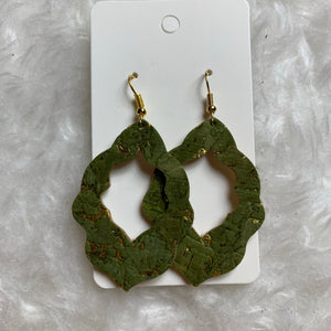Green and Gold Moroccan Leather Earrings