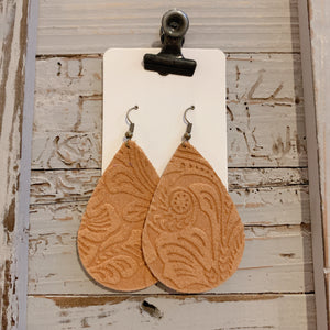 Embossed Mustard Teardrop Leather Earrings