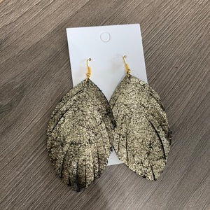 Large Gold and Black Fringe Leather Earrings