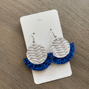 White and Blue Glitter Small Circle Leather Earrings