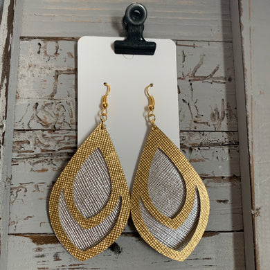 Silver and Gold Double Teardrop Leather Earrings