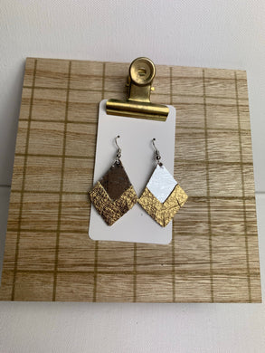 Small Silver and Gold Fringe Leather Earrings