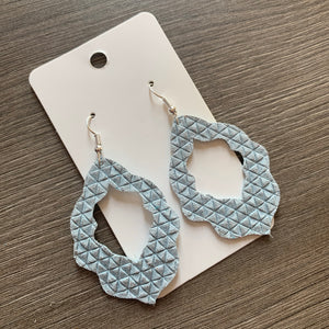 Light Blue Textured Moroccan Leather Earrings