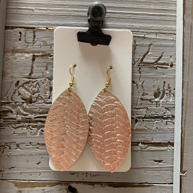 Rose Gold Leaf Leather Earrings