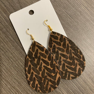Brown Pattern Cork Teardrop Leather Earrings