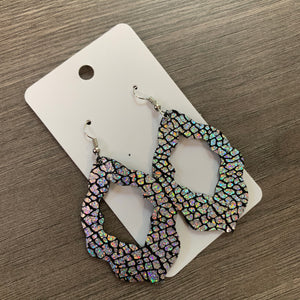 Silver Crackle Moroccan Leather Earrings