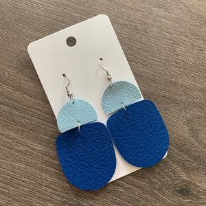 Multi Blue Drop Leather Earrings