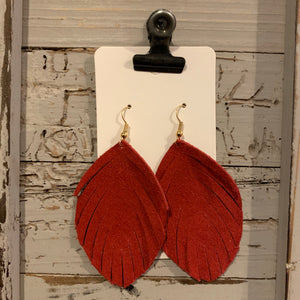 Red Suede Fringe Leather Earrings