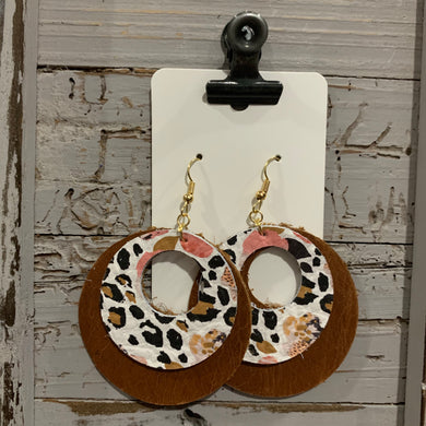 Floral Animal Print Double Circle Leather Earrings
