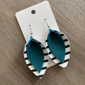 Black White Teal Double Petal Leather Earrings
