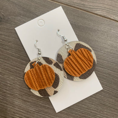 Leopard Pumpkin Circle Leather Earrings
