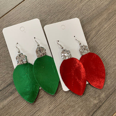 Christmas Light Leather Earrings