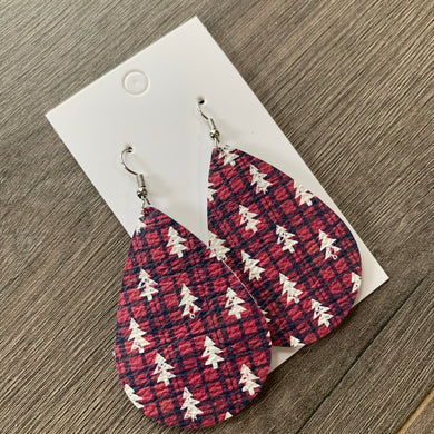 Christmas Tree Teardrop Leather Earrings