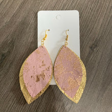 Pink and Gold Wide Fringe Leather Earrings