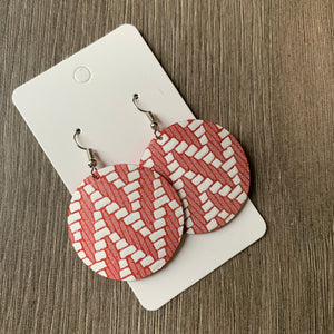Red Chevron Circle Leather Earrings