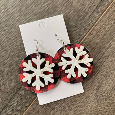 Buffalo Plaid Snowflake Circle Leather Earrings