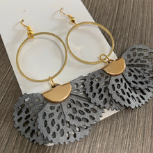 Gray Fabric Brass Drop Earrings