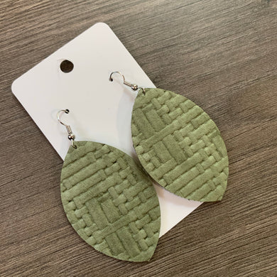 Sage Green Leaf Leather Earrings