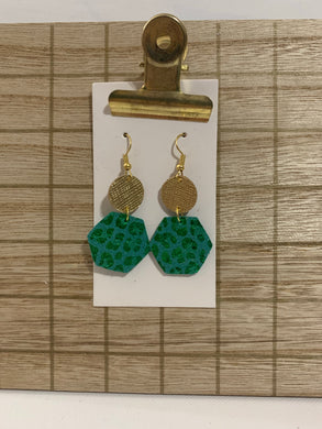 Gold and Green Leopard Hexi Drops Leather Earrings