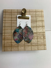 Multicolor Snake Teardrop Leather Earrings
