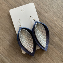Navy and Silver Double Petal Leather Earrings