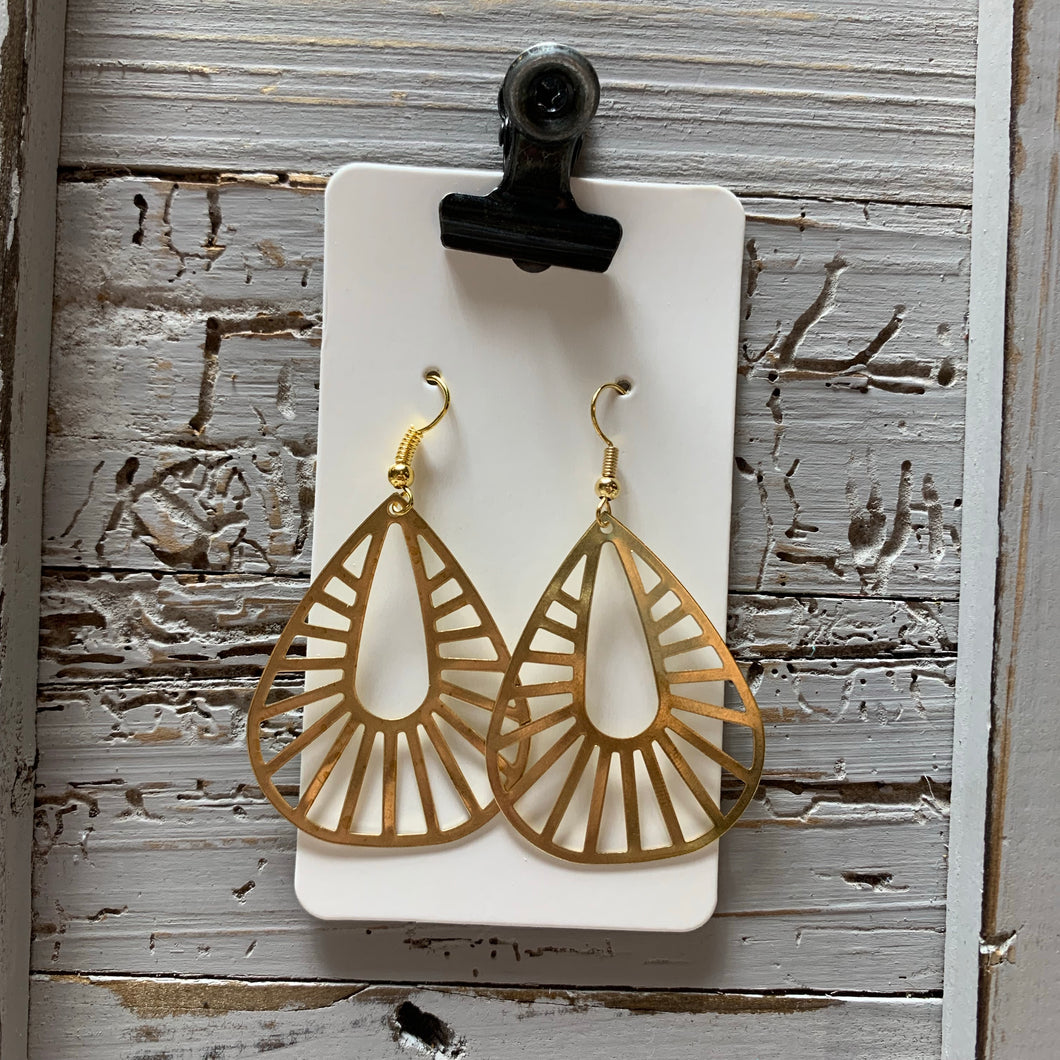 Brass Burst Teardrop Drop Earrings