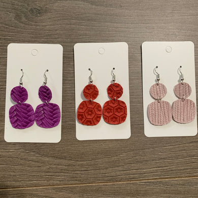 Small Summer Color Drop Leather Earring Set