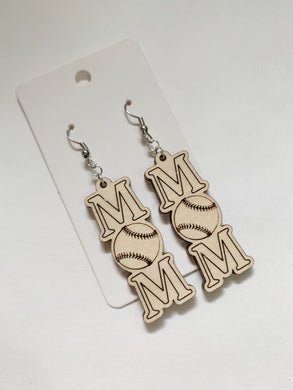 Baseball Mom Wooden Earrings