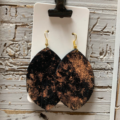 Black and Copper Fringe Leather Earrings