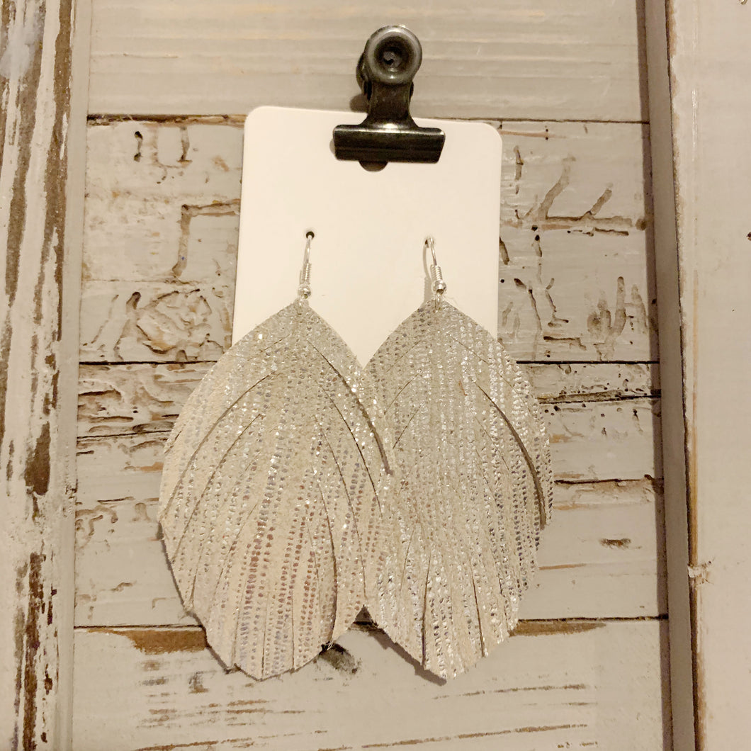 Beige and Silver Rain Fringe Leather Earrings