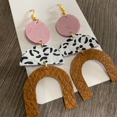 Pink Geo Drop Leather Drop Earrings