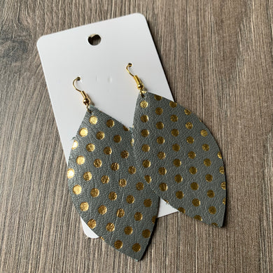 Gray and Gold Polkadot Leaf Leather Earrings