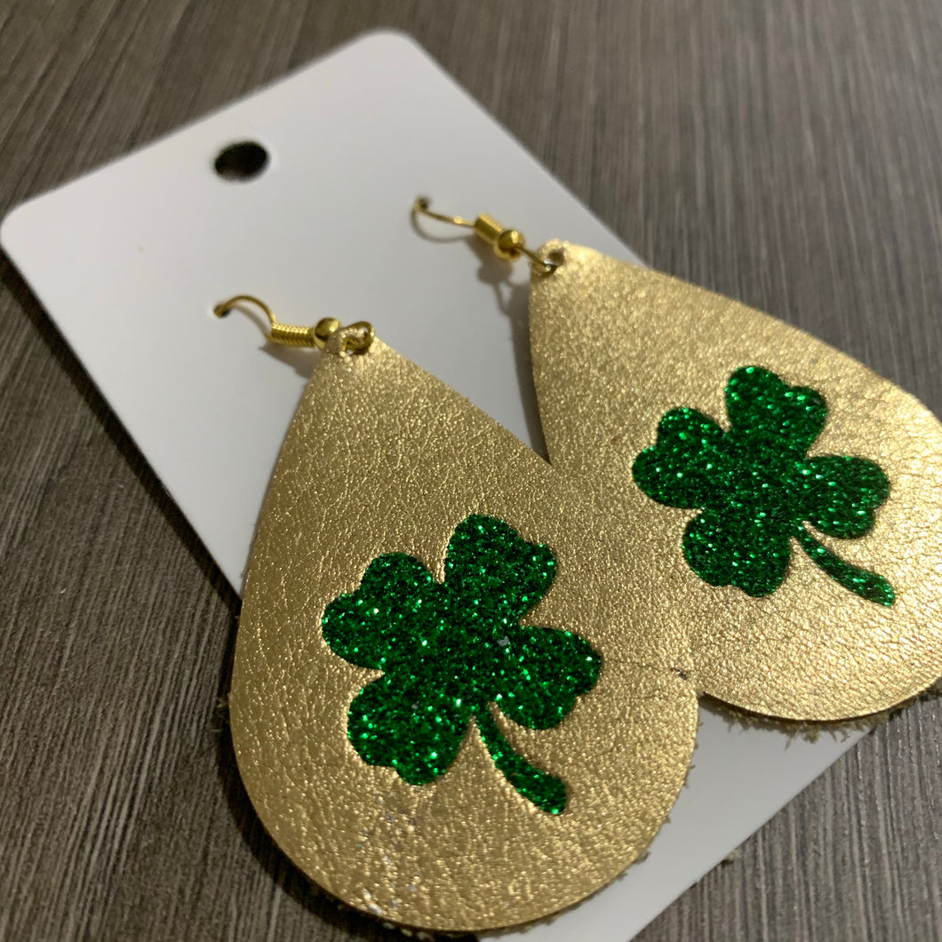 Gold and Green Shamrock Teardrop Leather Earrings