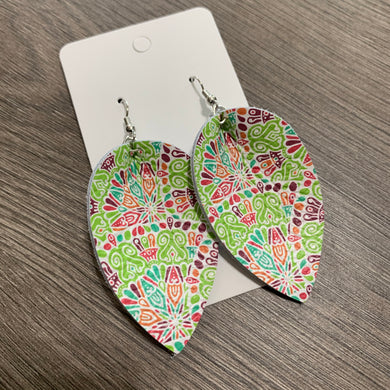 Green and Pink Fiesta Petal Leather Earrings