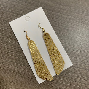 Gold Snake Shimmer Oblong Leather Earrings