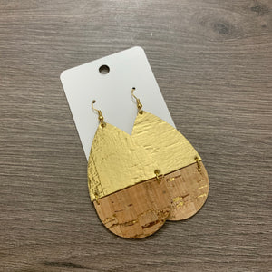 Split Gold Cork Leather Teardrop Earrings