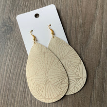Cream and Gold Large and Classic Teardrop Leather Earrings