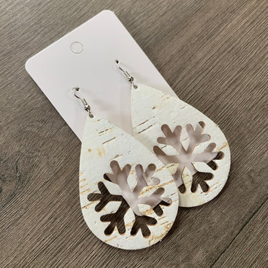 Snowflake Cork Leather Earrings