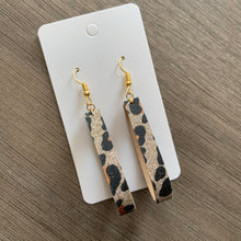 Gold Animal Print Leather Earring Hoops