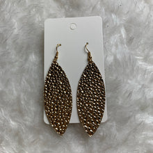 Gold Textured Skinny Leaf Leather Earrings