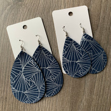 Navy and Silver Leather Teardrop Earrings