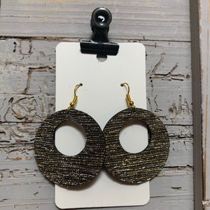 Black and Gold Shimmer Open Circle Leather Earrings