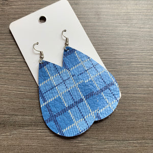 Blue Plaid Teardrop Leather Earrings