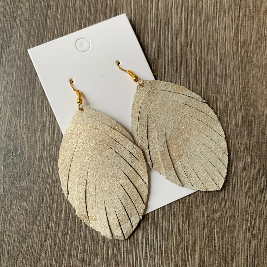 Cream and Gold Camo Fringe Leather Earrings