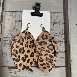 Animal Print Large Fringe Leather Earrings