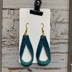 Teal Loop Leather Earrings