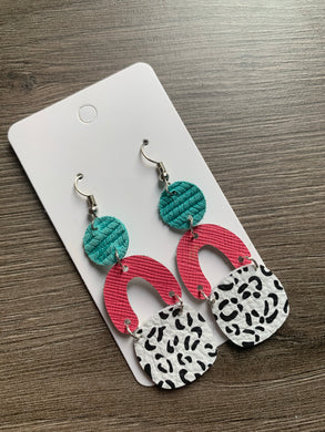 Aqua Pink Mix it Up Leather Drop Earrings