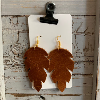 Brown Jungle Leaf Leather Earrings