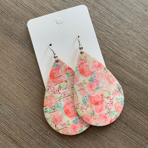 Pink Floral Cork Leather Teardrop Earrings
