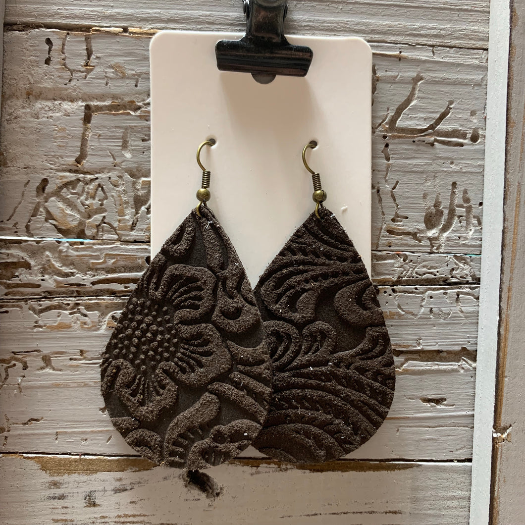 Dark Brown Embossed Leather Teardrop Earrings